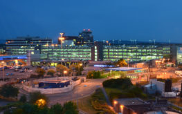 Manchester Airport at night from hotel Caftop Hotel