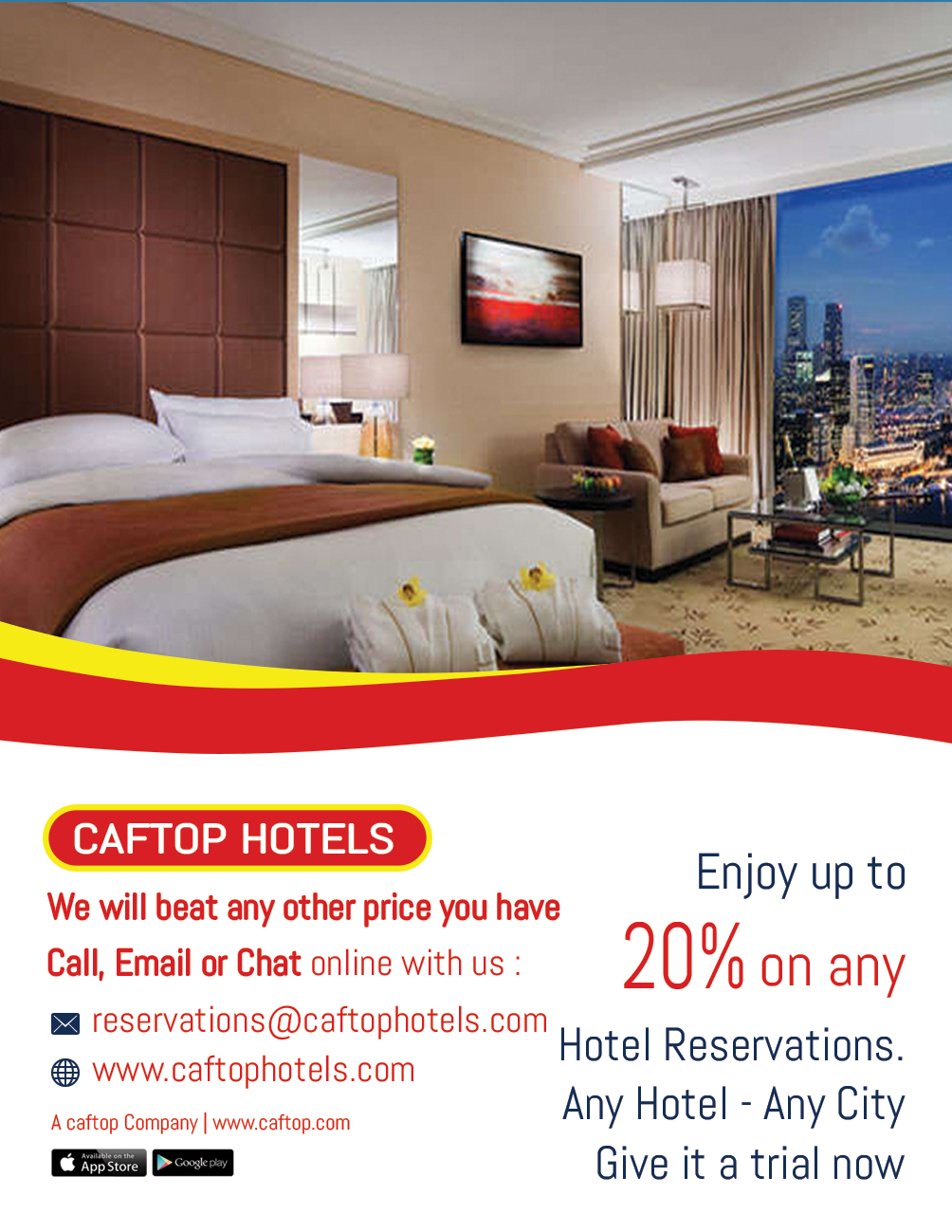 20% Discount off any Hotel Reservation - Caftop Hotels